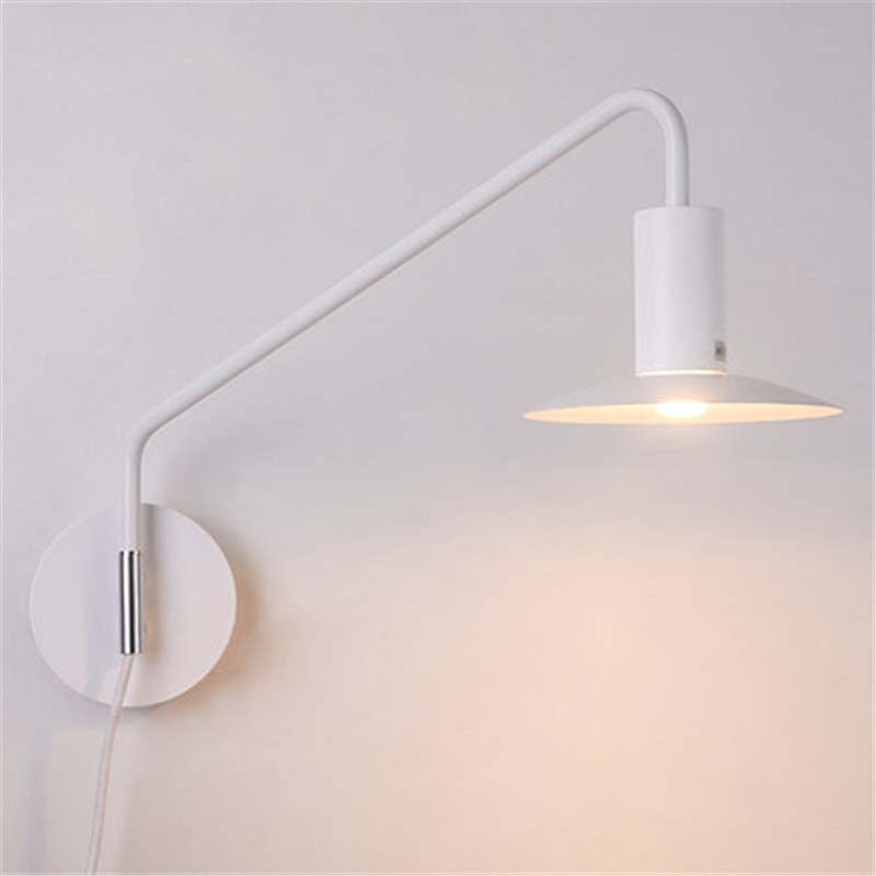 Creative Loft Style Iron Wall Sconce Industrial Wind Modern LED Wall Light Fixtures With Plug Rotate Bedside Wall Lamp Lighting