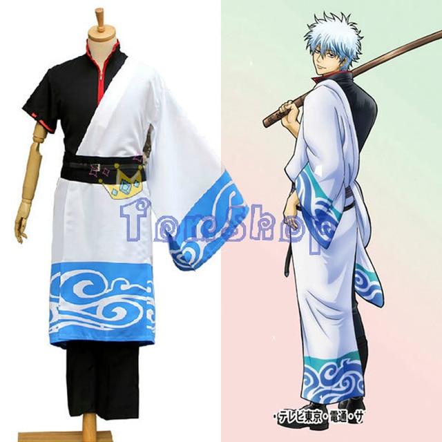 2086bf887 Anime Gintama (Silver Soul) Sakata Gintoki Kimono Cosplay Uniform Full Set  Outfit Halloween Costume Size S-XXL Free Shipping