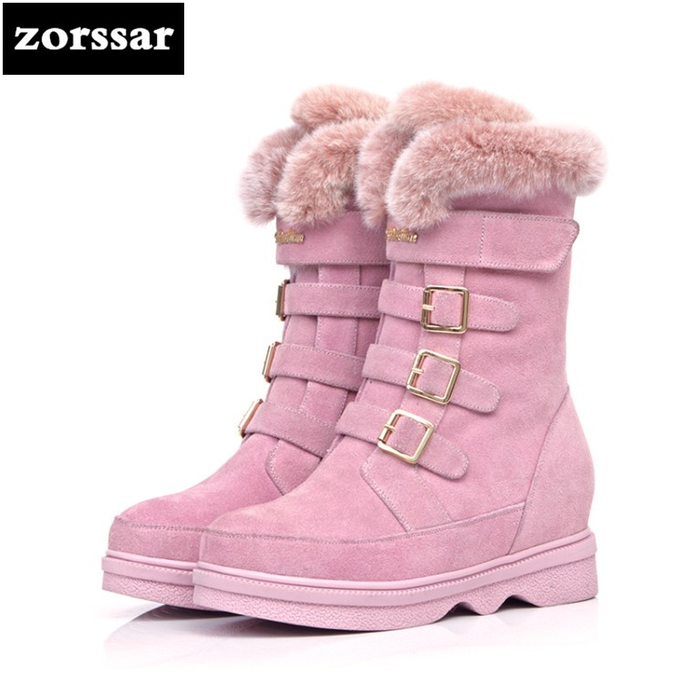 {Zorssar} New flat Women Boots Winter cow Suede mid-calf Snow Boots Female Warm Fur Plush Insole shoes High Quality Botas Mujer zorssar 2017 new classic winter plush women boots suede ankle snow boots female warm fur women shoes wedges platform boots