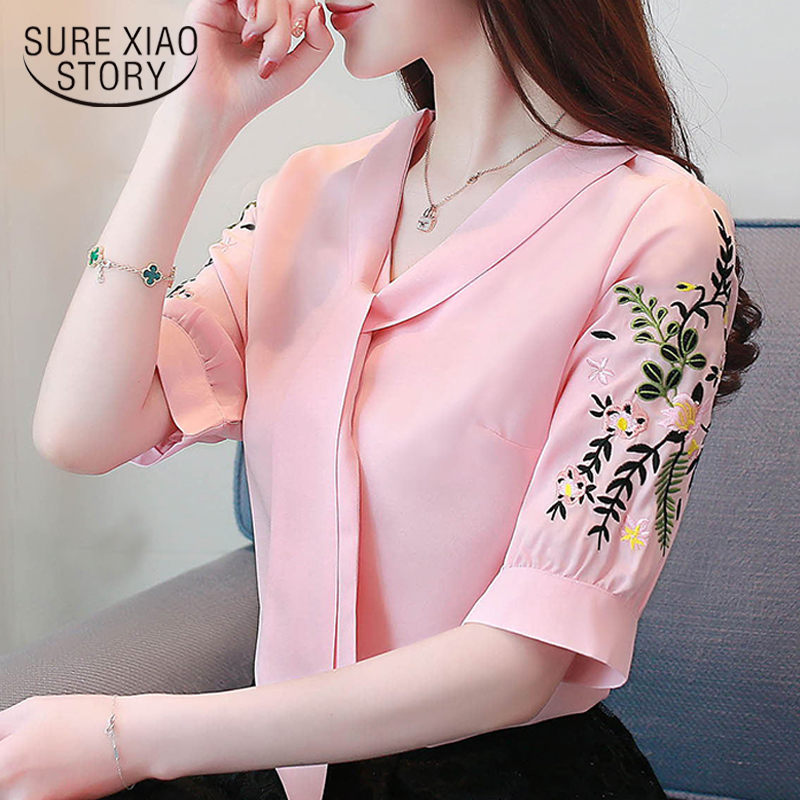 Pink chiffon blous   shirt   office work wear   blouse   women   shirts   short sleeve summer tops plus size womens tops and   blouses   0029 60
