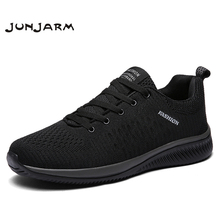 JUNJARM New Mesh Men Casual Shoes Lace-up Lightweight Comfortable Breathable Walking Sneakers Tenis Feminino Zapatos