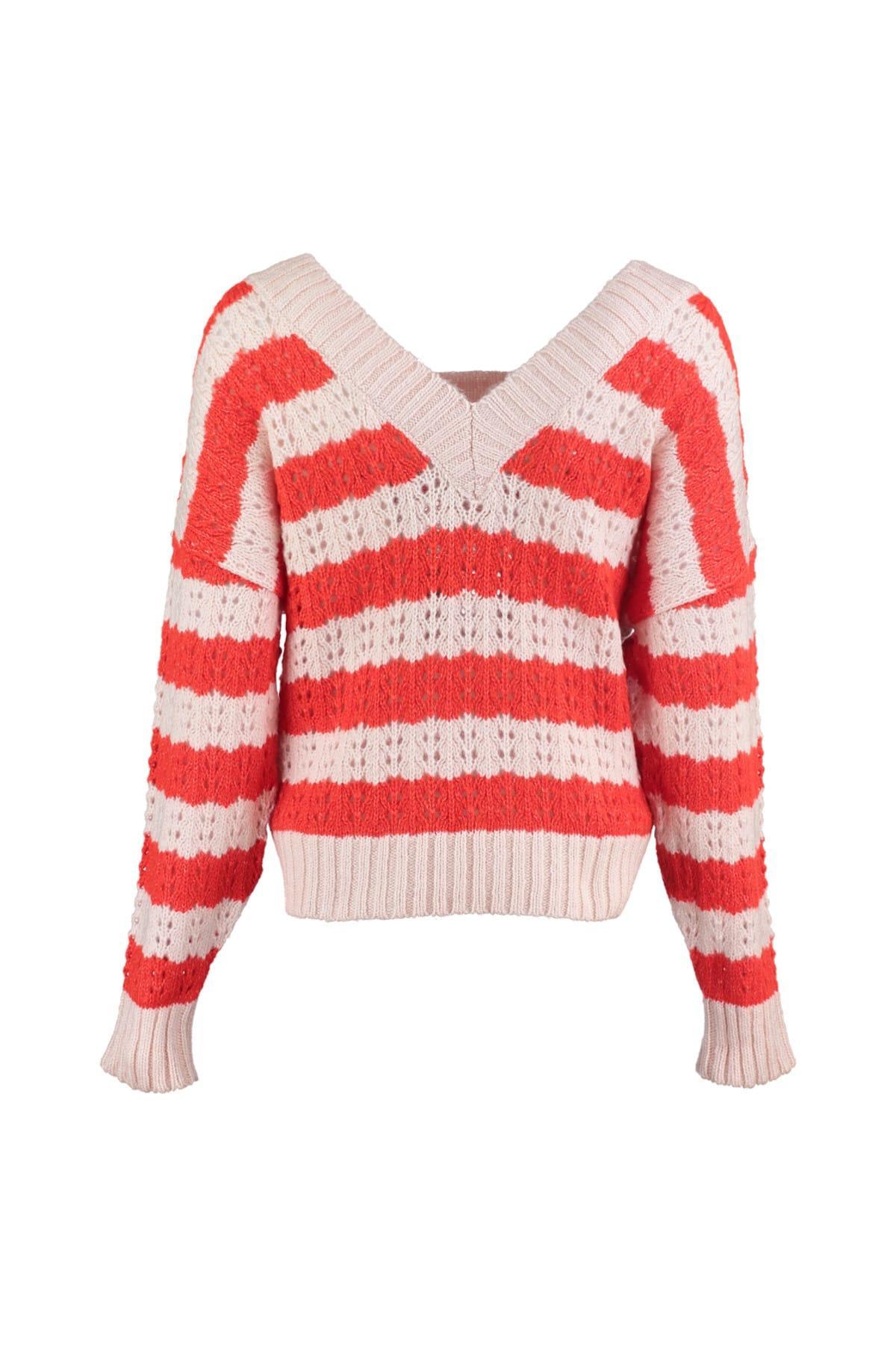 Trendyol WOMEN-Powder V Collar Ajurlu Knitwear Sweater TWOAW20ZA0018