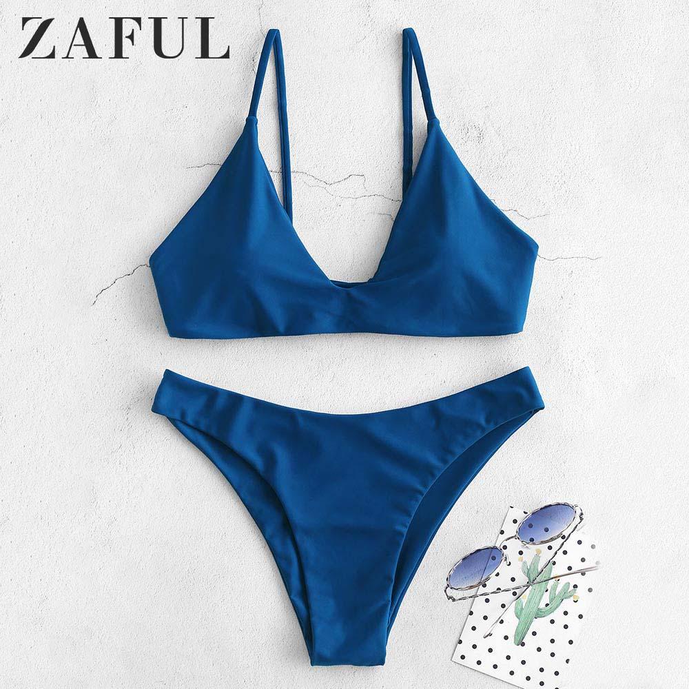 ZAFUL Bikini Back Tie Bikini Set Padded Spaghetti Straps Solid Swim Suit Pullover Women Summer Swimwear Bathing Suit