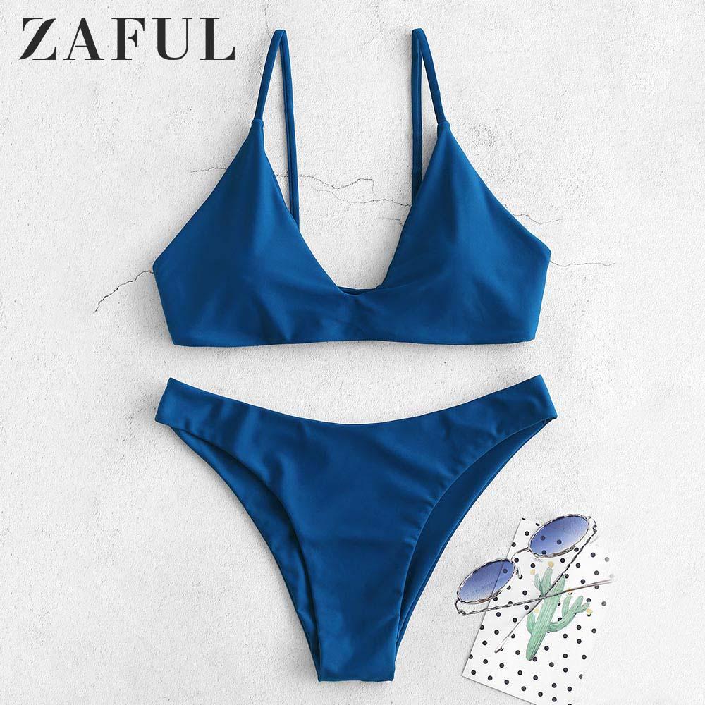 ZAFUL Bikini Back Tie Bikini Set Padded Spaghetti Straps Solid Swim Suit Pullover Women Summer Swimwear Bathing Suit
