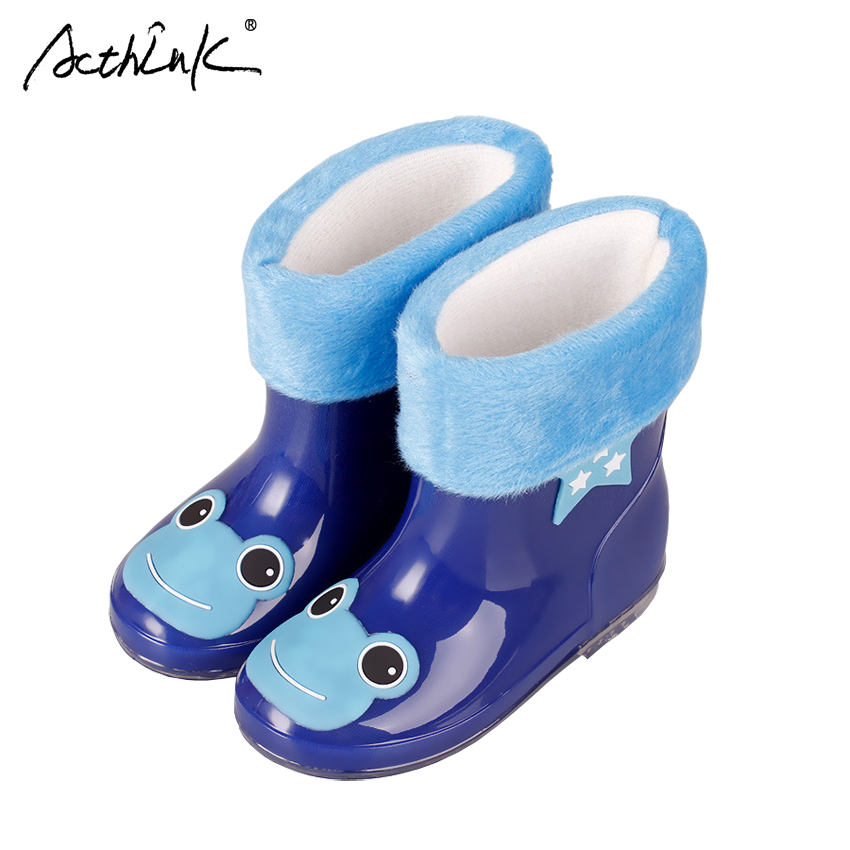 ActhInK New Design Kids Cartoon Rainboots font b Baby b font Girls Antiskid Wellies with Cotton