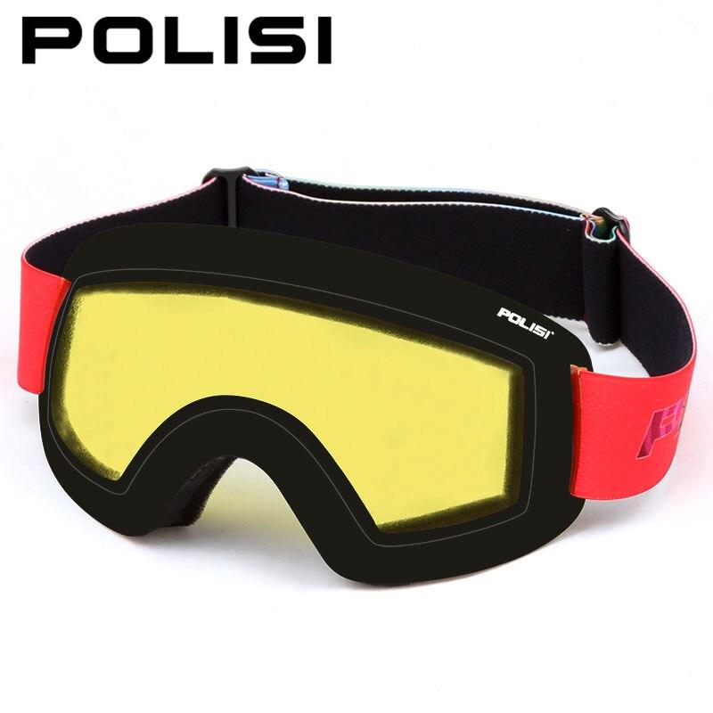 POLISI professionnel hiver Ski neige lunettes Snowboard lunettes Double couche lentille Anti-buée Ski lunettes, lentille jaune