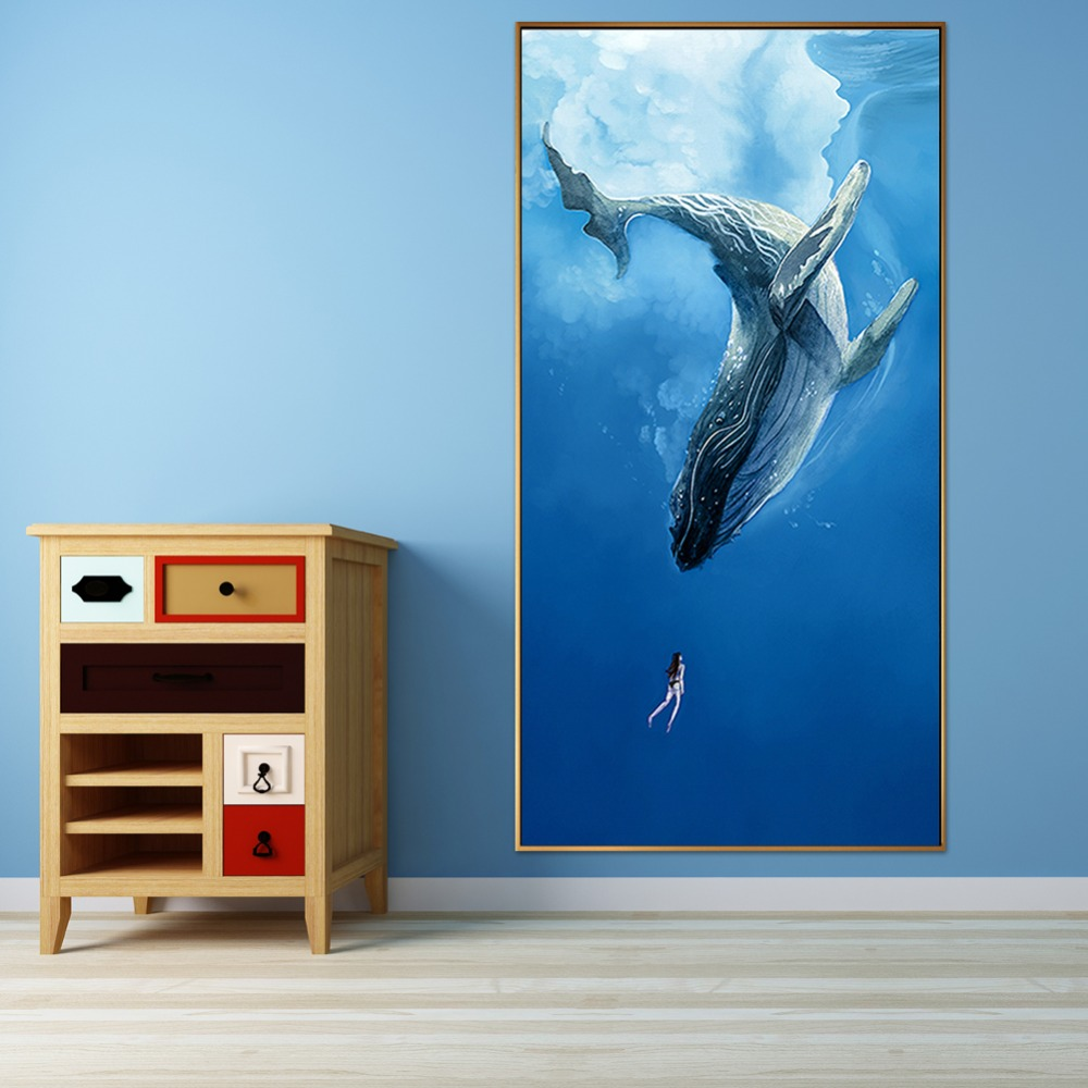 Nordic Simple Style Whale And Girl Canvas Painting Modern Marine Animal Abstract Wall Art Poster For Living Room Home Decoration
