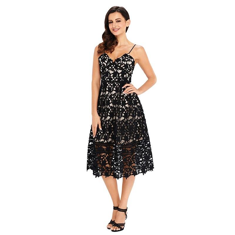 Women's Dress Elegant Lace Dress Plus Size Women Summer Spaghetti Strap Lace Hollow Out Embroidery Lace Dress Plus Size Party    (6)