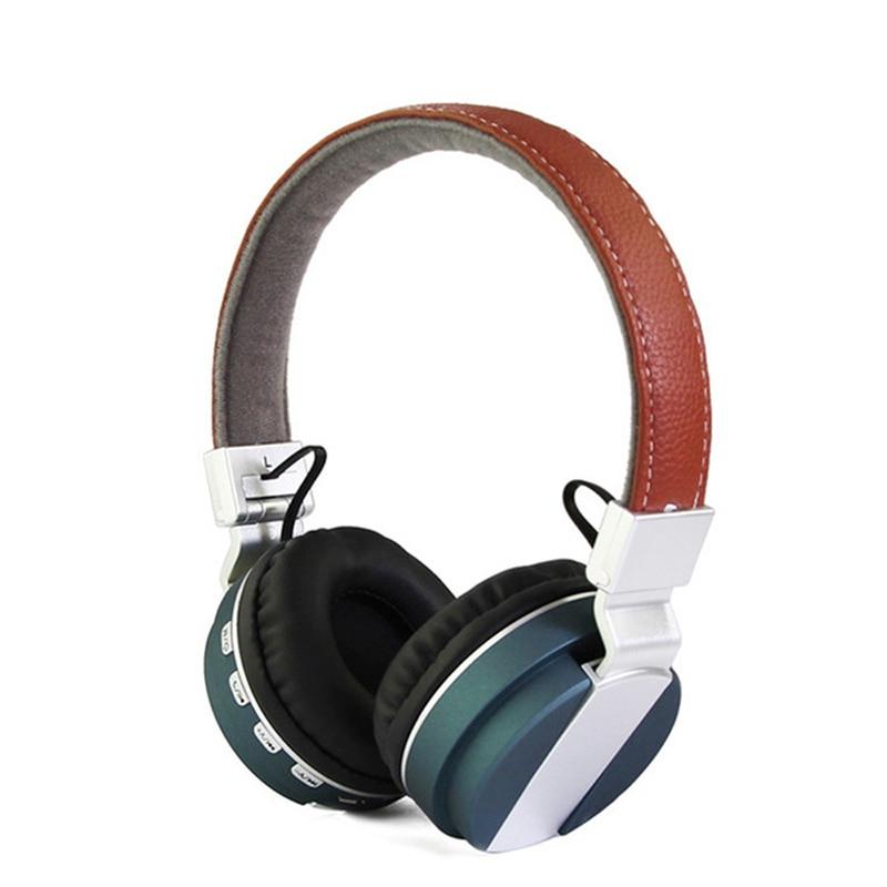 Originální Dual Stereo Bluetooth sluchátka Stylová kožená sluchátka Bezdrátová skládací TF karta FM rádio Sluchátko s mikrofonem