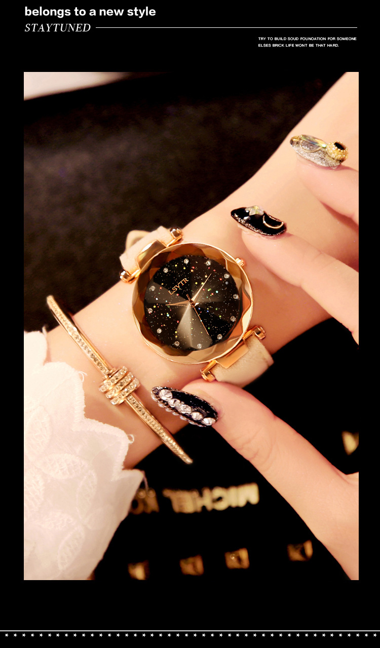 18 Luxury Brand Gogoey Women Watches Personality romantic starry sky Wrist Watch Leather Rhinestone Designer Ladies Red Clock 20