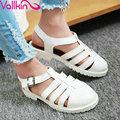 Vallkin concise grande tamanho 34-43 lazer da praia do verão as mulheres sapatos de cores doces meninas 'flats doce rosa bracelete sapatas das mulheres