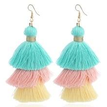 Bohemian 3 Layer Neon Tassel Earrings For Women Summer Multicolor Tiered Fringe Long Drop Pendientes Beach Jewelry