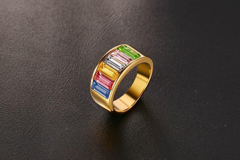 TYME 2017 nuevos productos de moda 9mm de acero inoxidable de oro anillo de color para joyería de mujer Arco Iris oro hermoso color anillo para mujer - 3