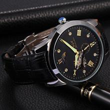 Hcandice 2017 Dignity 1PC Men's Fashion PU Leather Band Skeleton Mechanical Wrist Watch Watches JUN 8