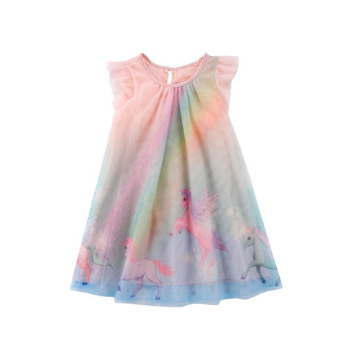 Tulle Dress Rainbow Girl Party Toddler Princess Cartoon Pony Fashion Summer Kid New