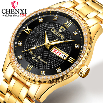 CHENXI Mens Watches Top Brand Luxury Golden Full Steel Quartz Watch Men Gold Clock Fashion Male Wristwatches Relogio Masculino ailang skeleton watch full stainless steel mechanical watch men designer mens watches top brand luxury clock gold male relogio
