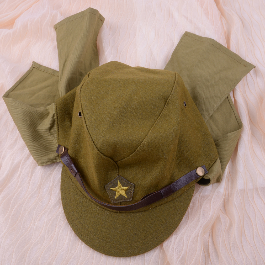 Green Officer Field Wool World War II WW2 Japanese Army Soldier Hat Cap Military Costume Accessory For Men