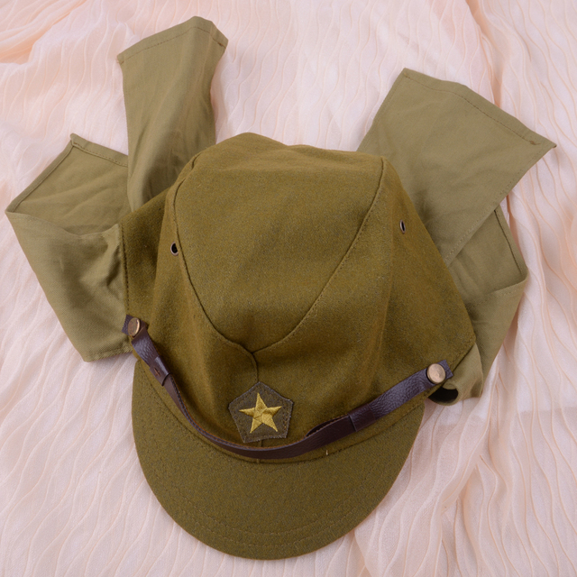 Green Officer Field Wool World War II WW2 Japanese Army Soldier Hat Cap  Military Costume Accessory For Men 19b17472fad