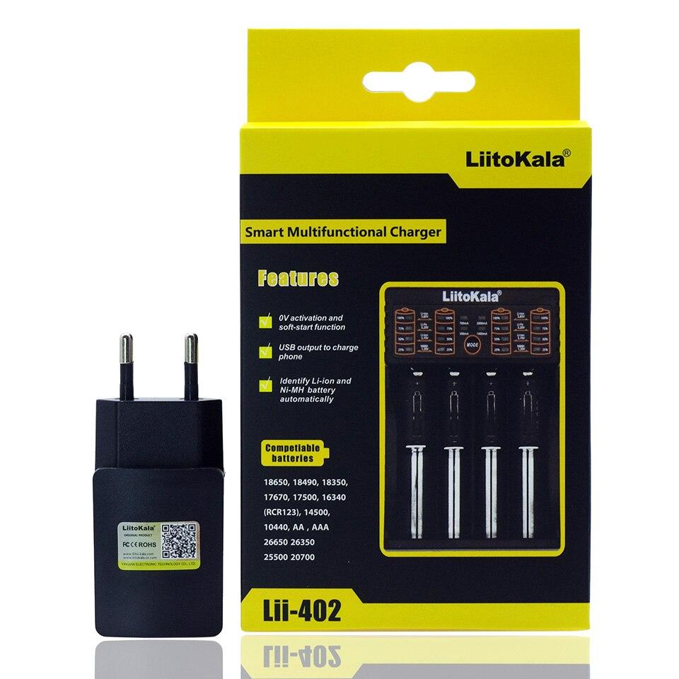 Liitokala Lii-402 Lii-202 100 18650 carregador 1.2 V 3.7 V 3.2 V 3.85 V AA/AAA 26650 16340 de lítio NiMH carregador de bateria + carregador 5 V 2A carregador