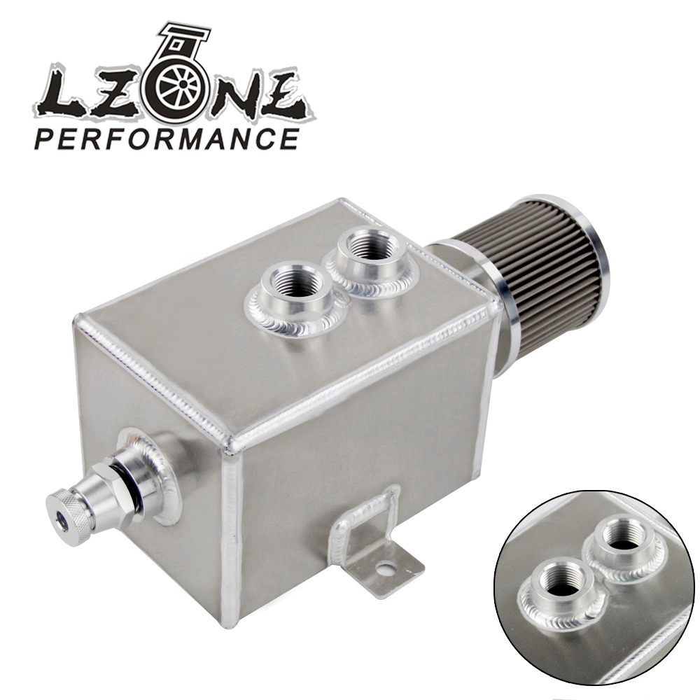 LZONE RACING - 2L Aluminum oil catch can tank with breather & drain tap 2LT baffled JR9492 все цены