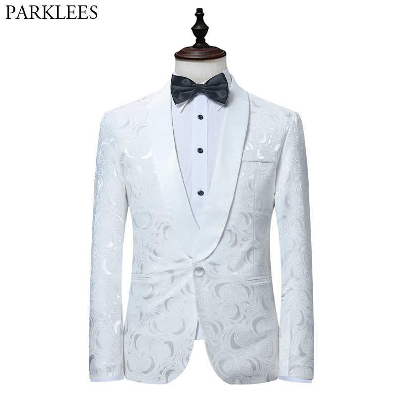 男性のエレガントなローズ花柄タキシードスーツブレザー結婚式新郎花婿の付添人タキシードスーツのジャケットの男性白