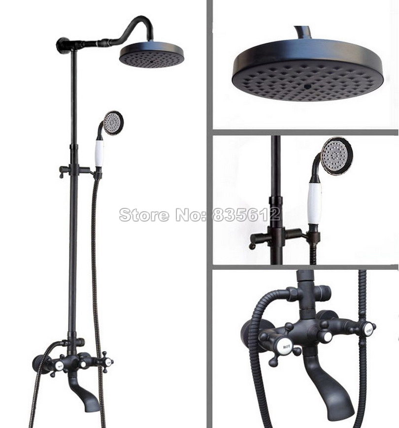 Black Oil Rubbed Bronze Wall Mounted Bathroom Rain Shower Faucet Set / Bath Tub Dual Holder Dual Control Mixer Tap Whg608