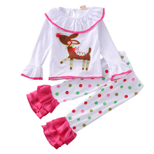 Little Girl Polka Dots Flare Sleeve Clothing Set 2PCS Baby Kids Girls Christmas Pajamas Pajamas Set Outfit Sleepwear Pjs Clothes