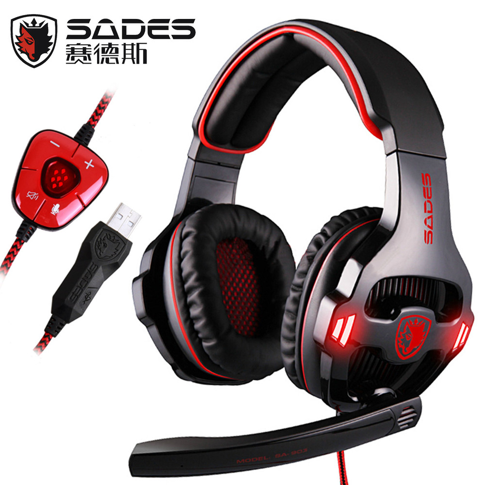 Sades SA-903 7.1 Surround Sound Over-Ear PC Headset Gaming Headphone USB Game Earphone with Mic Volume LED Lighting for Computer game over