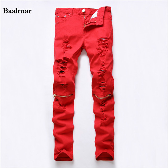 2017 New Red Ripped Jeans Men With Holes Super Skinny Famous Designer Brand  Slim Fit Destroyed - Aliexpress.com : Buy 2017 New Red Ripped Jeans Men With Holes