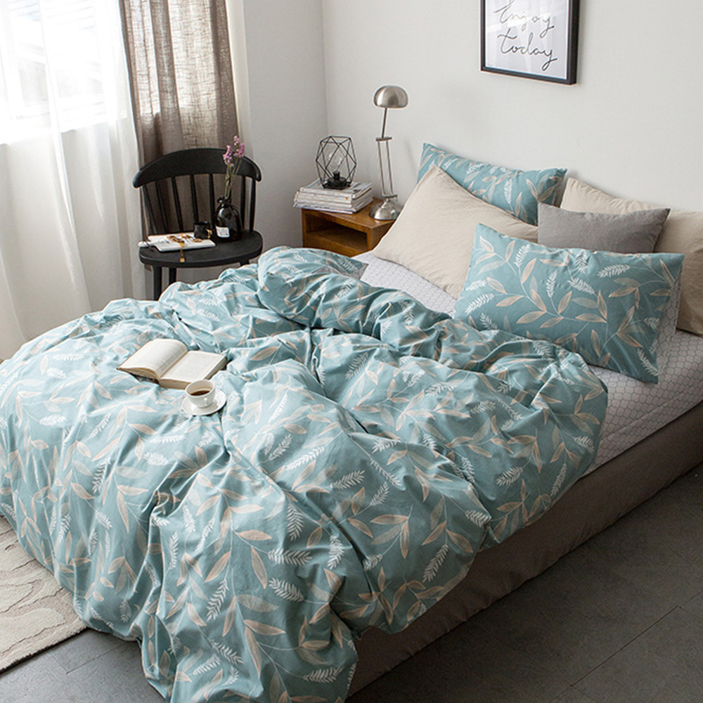 Classic Cotton Green leaves bedding set Duvet Cover pillowcase King size bedclothes
