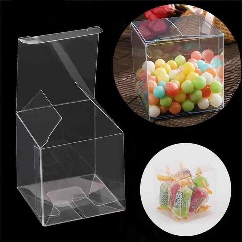 10 ピース/ロット透明クリアギフトキャンディーボックス正方形 PVC チョコレートバッグボックス結婚式の好意パーティーイベントの装飾ボックス