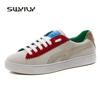 SWYIVY Woman Sneakers Shoes Genuine Leather 2018 Spring Flat Color Block Female Casual Cancas Shoes Comfortable Woman Sneakers
