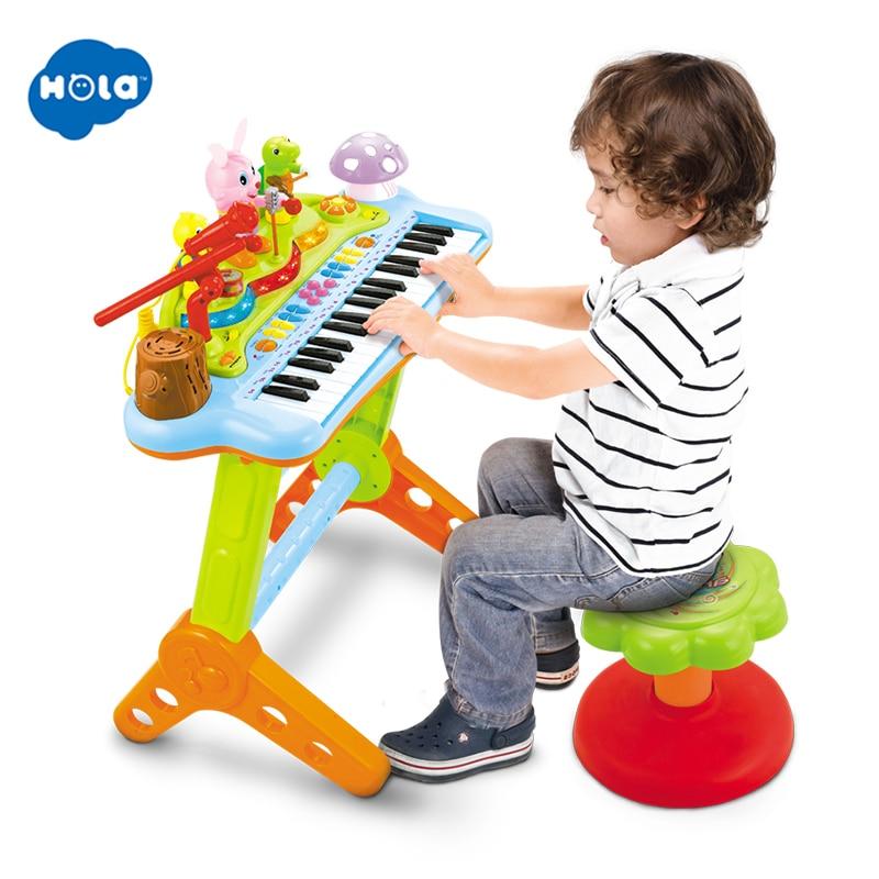 Kids Electronic Keyboard Organ Piano Drums 8 Keys 15 Lights Microphone /& Stool