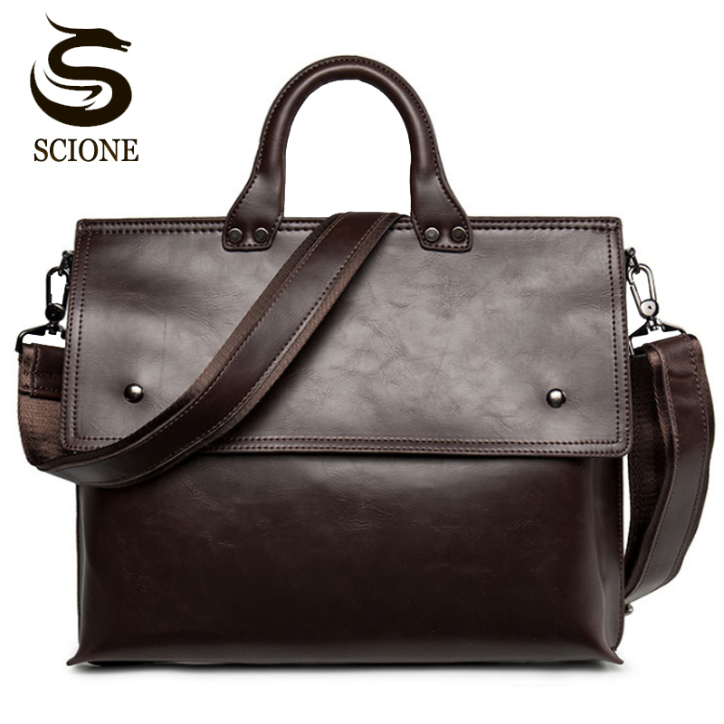 Hot Fashion Men Bags PU Laptop Briefcases Handbags Tote Men Office Shoulder Bag Strap Crossbody Bags Travel Messenger Bags
