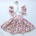 2016 nuevo llegado niñas vintage floral vestido al por menor venta al por mayor del verano de los bebés para 1-6years