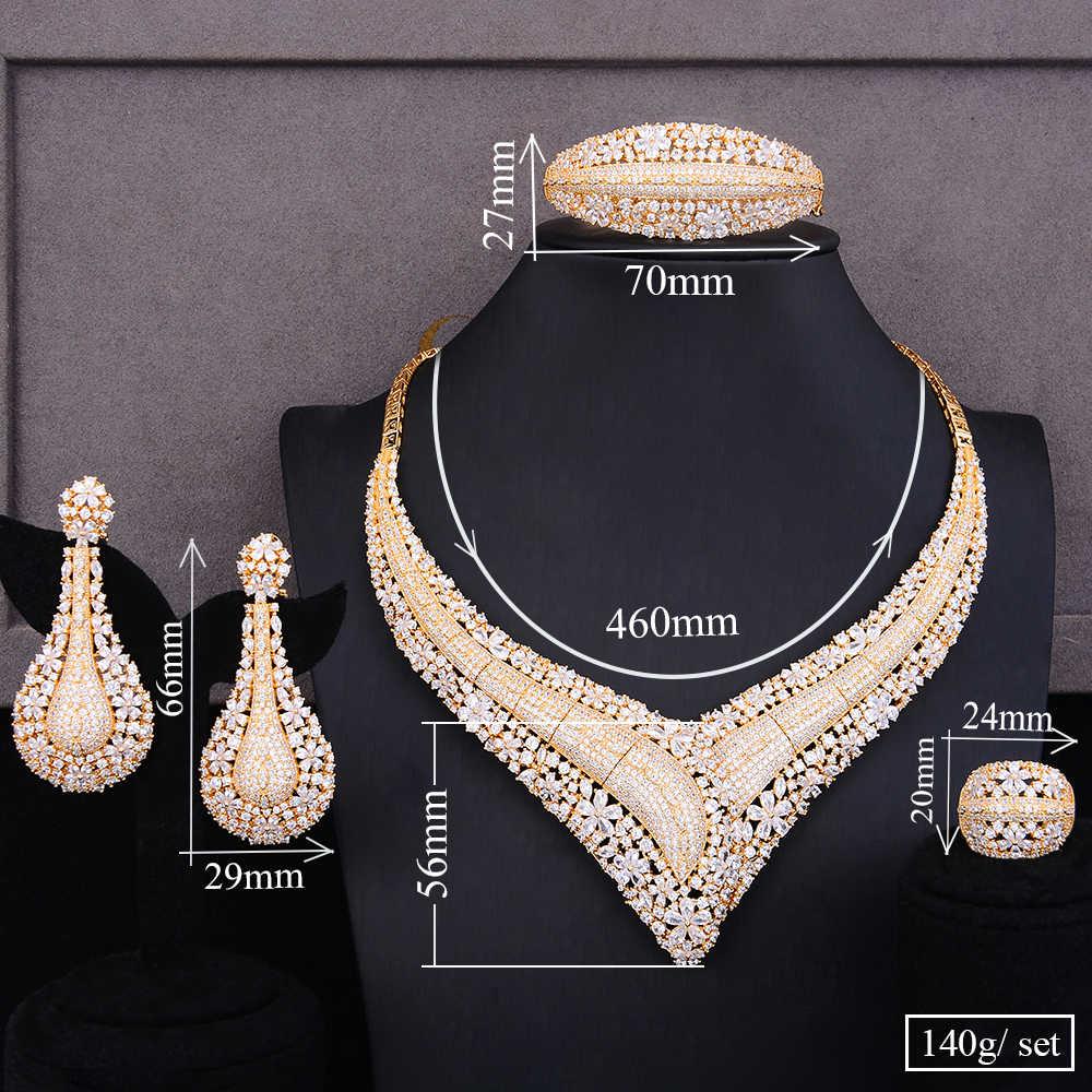 Missvikki 4PCS Berühmte Super Edle CZ Armreif Ohrringe Ring Halskette Schmuck-Set für Braut Hochzeit Superstar Party Zeigen Schmuck