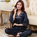 NEW Sexy Moda Cetim Conjuntos de Pijama Sleepwear Camisola De Seda Das Mulheres Com Decote Em V Azul Escuro e Marrom Tops Do Sono Bottoms QW55