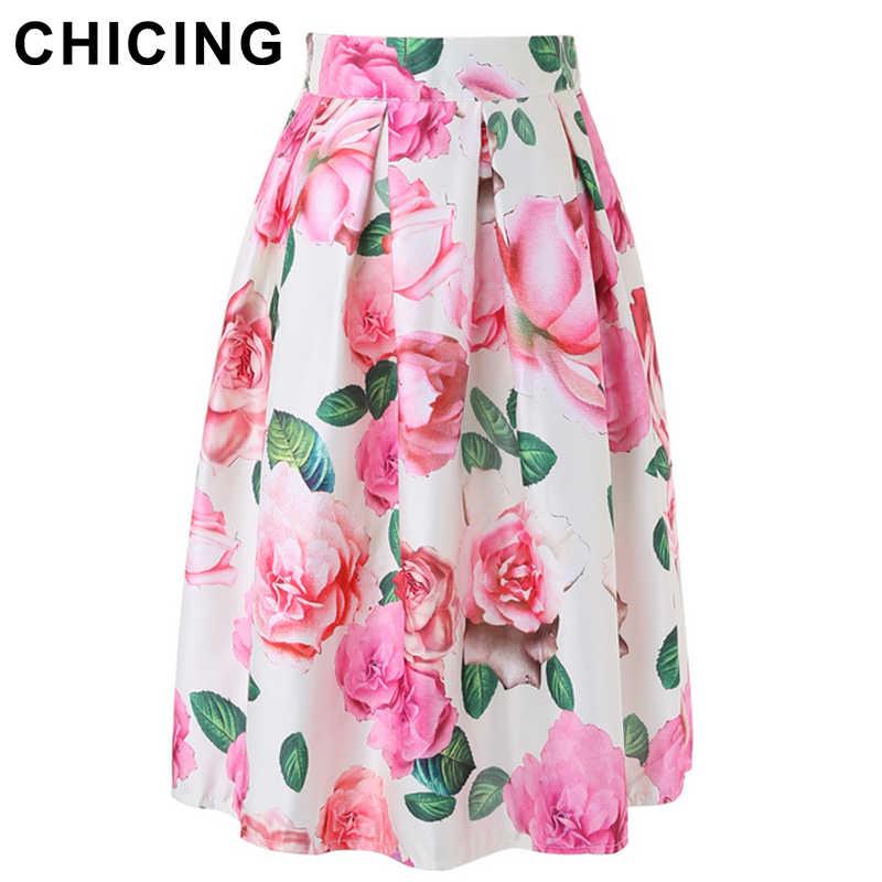 CHICING Floral Print Ball Gown Pleated Midi Skirt Skater Skirt Fashion 2019 Spring  Summer Vintage Saias dab6669cb268