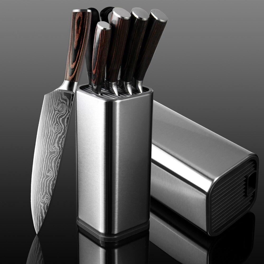 XITUO cuisine Chef Set couteau acier inoxydable porte-couteau Santoku utilitaire coupe couperet pain d'office couteaux ciseaux outils de cuisson