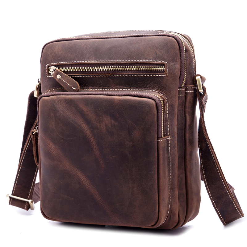 NEWEEKEND Genuine Leather Men s Bags Small Shoulder Messenger Crossbody Bags Casual Small Flap iPad Bag