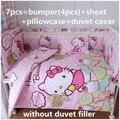 Promoción! 6 / 7 unids Hello Kitty cuna juegos de cuna bumpers. 100% algodón del lecho del bebé, 120 * 60 / 120 * 70 cm