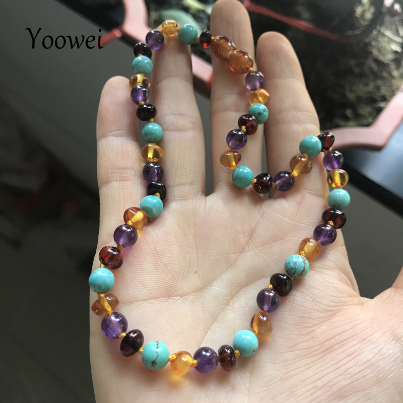 Yoowei Baby Amber Teething Necklace Genuine Beads Natural Amethyst Turquoise Baltic Amber Jewelry Bracelet Necklace Wholesale yoowei 4mm natural amber bracelet for women small beads no knots multilayered sweater chain necklace genuine long amber jewelry