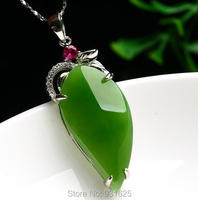 925 Naturalny Zielony HeTian Yu Gem Stone Inlay Uroda Projekt Dangle Szczęście Naszyjnik + certyfikat Fine Jewelry