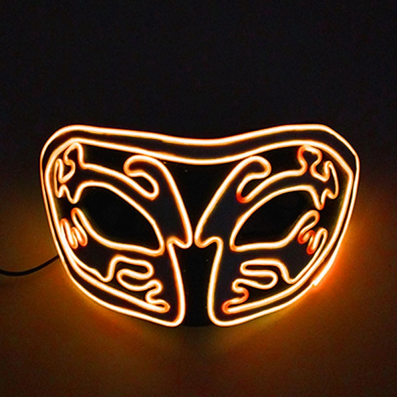 Halloween Light Up Mask With LED EL Wire Upper Half Face Covered Halloween Cosplay Festival Party Costume Props in Party Masks from Home Garden