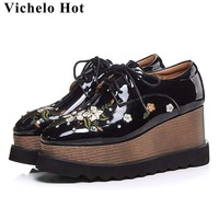 208fd57ea Large Size European Designer Flower Embroidery Square Toe Wedges High  Bottom Lace Up Fashion Runway Punk