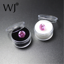 30pcs/lot White Clear 3cm x 1.7cm Round Diamond Display Box Plastic Beads Jewelry Case Stone Box Gem Bijoux packaging Organizer
