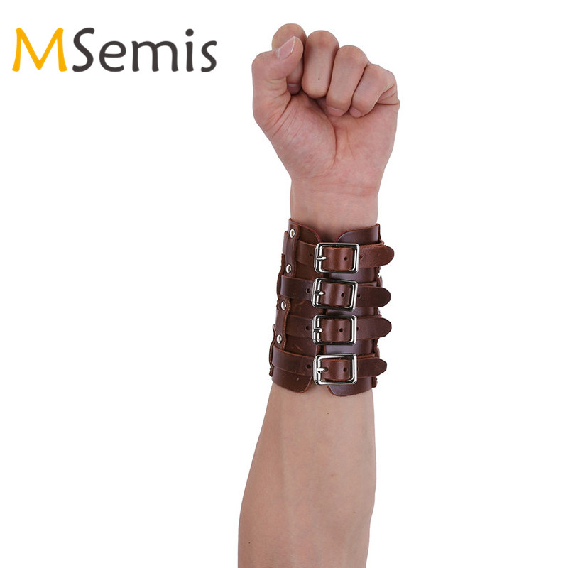 Mens Bracers Faux Leather Wristband Adjustable Buckles Gauntlet Wristband Wide Medieval Bracers Protective Arm Armor Cuff Up