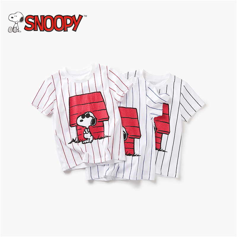 Snoopy Brand Girl Tshirt 100% Cotton Short sleeve Casuals Stripes Boys T-Shirt Cartoon Printing Tracksuits Class A Quality C119