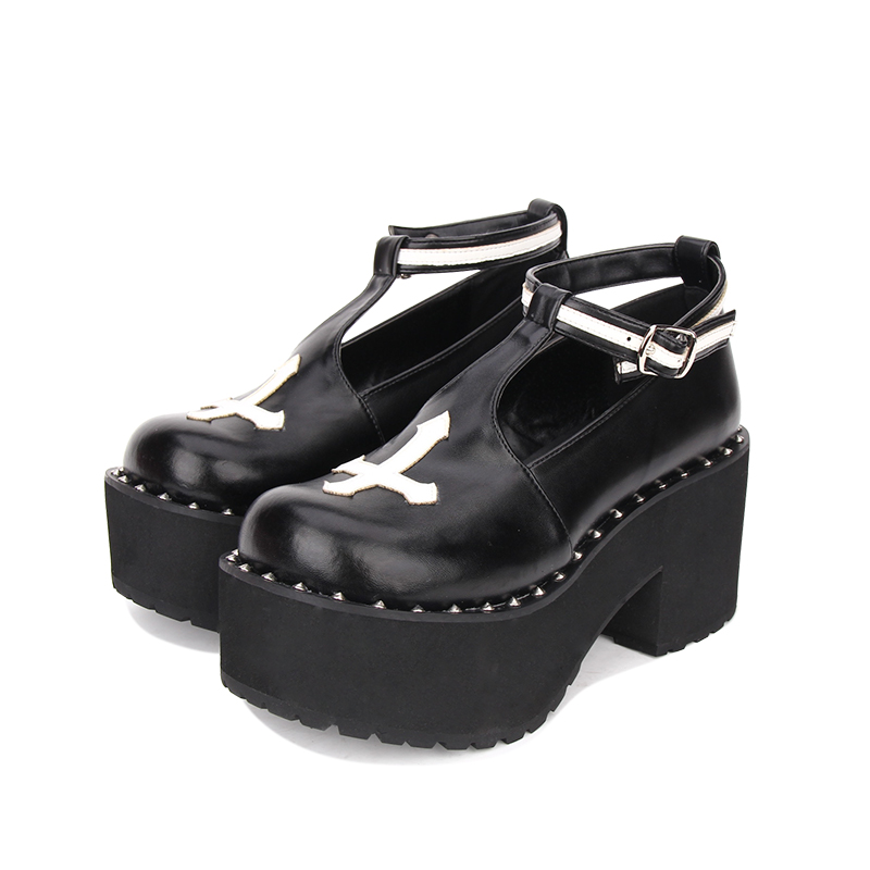 Punk Gothic Dame Lolita Schuhe Nieten Kleid High Heels Pumpen Schwarzes Frauen Frau Impressum Mädchen Prinzessin Cosplay Mori Angelic Keile 0gwzq5p