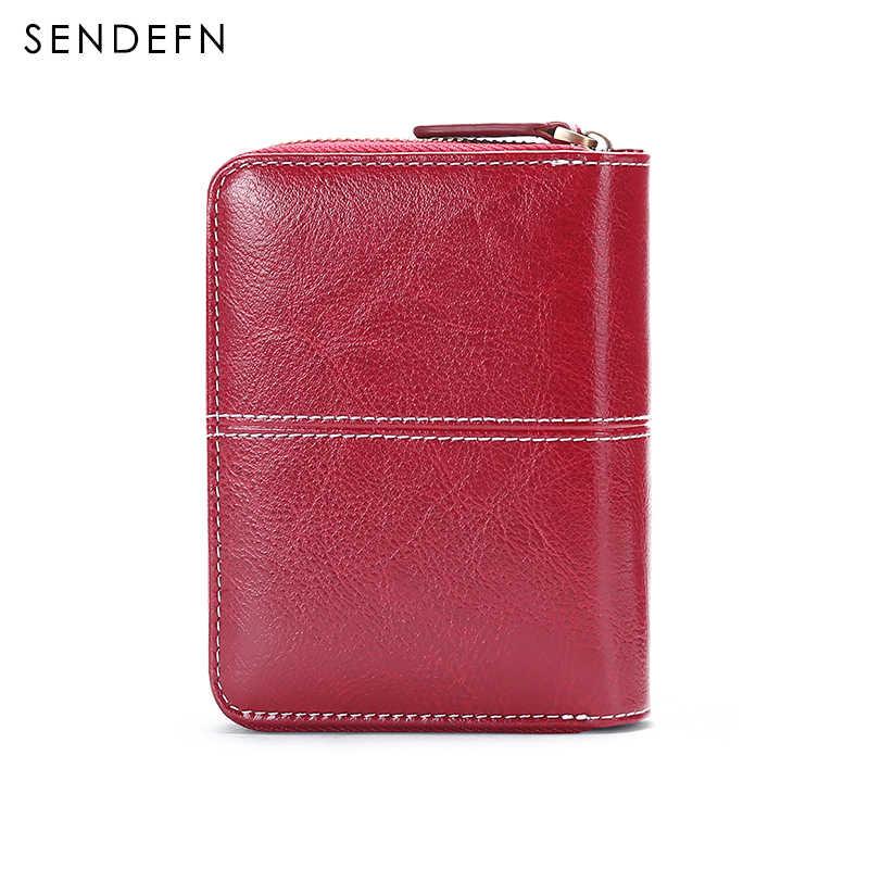 Sendefn New Wallet Women Purse Brand Coin Purse Zipper Wallet Female Short Wallet Women Split Leather Small Purse